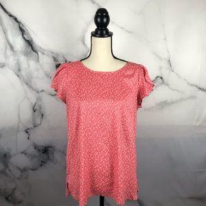 LOFT short flutter sleeve blouse w/buttons up back